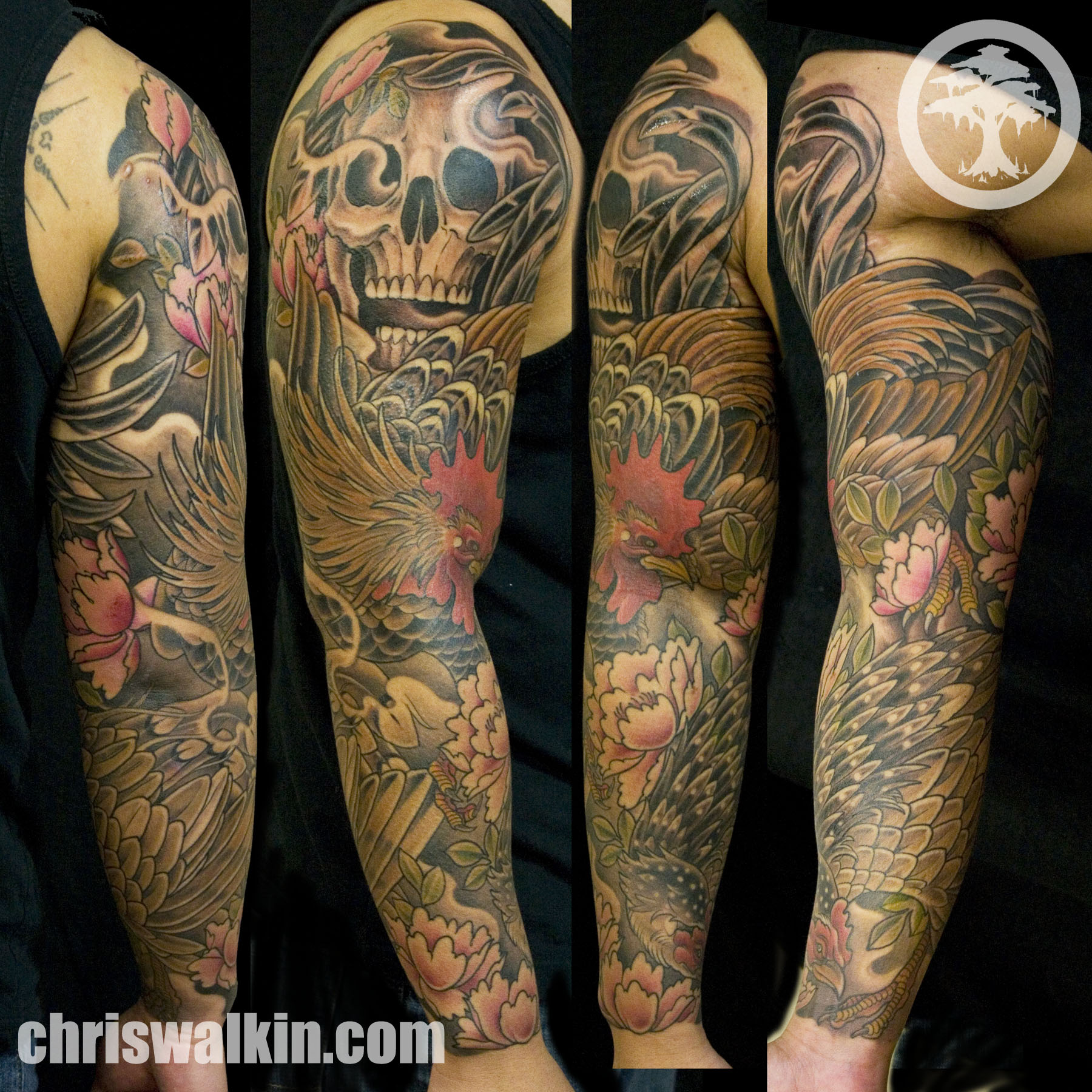 grey ink skull and rooster tattoo on sleeve