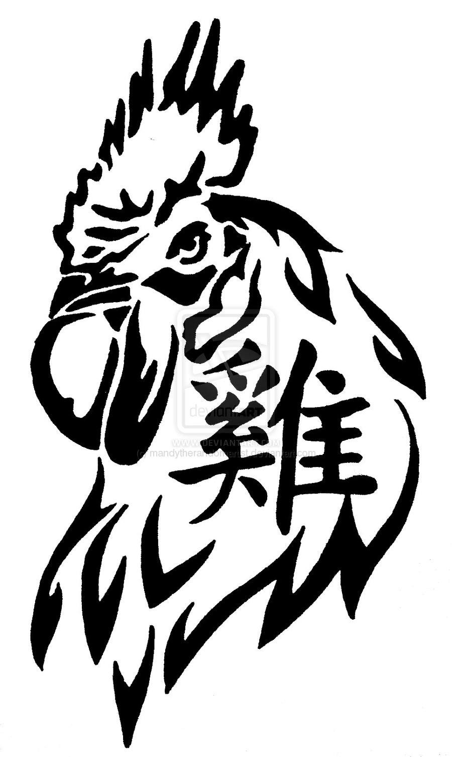 Tribal Rooster Tattoo