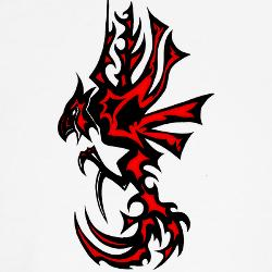 feefe6ca46536 Red And Black Tribal Rooster Tattoo Design