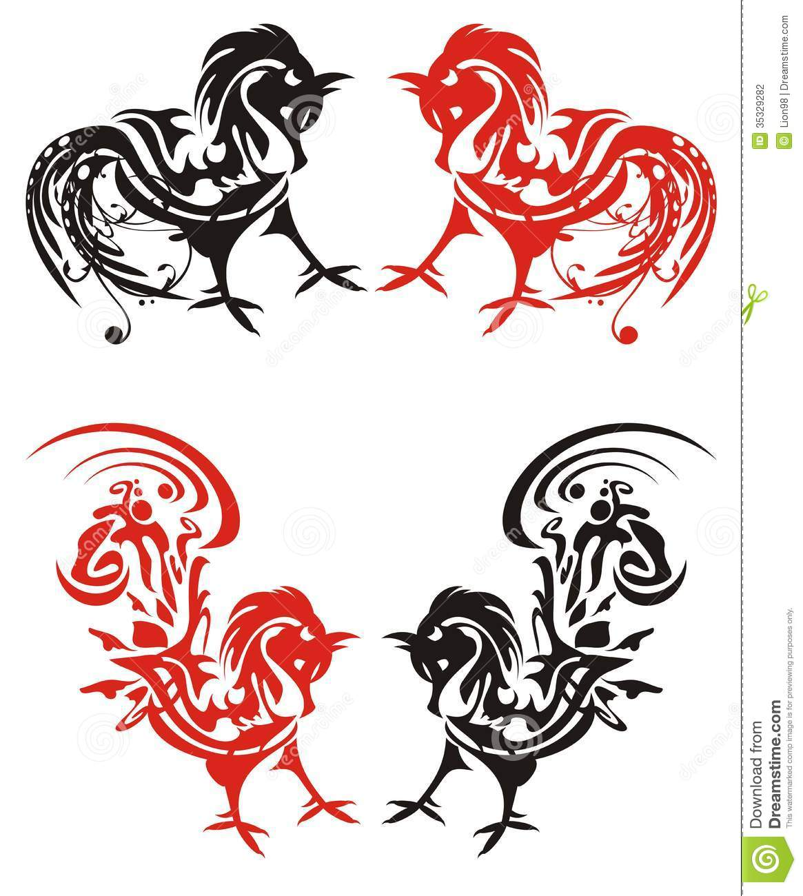 Red And Black Tribal Rooster Tattoos Designs