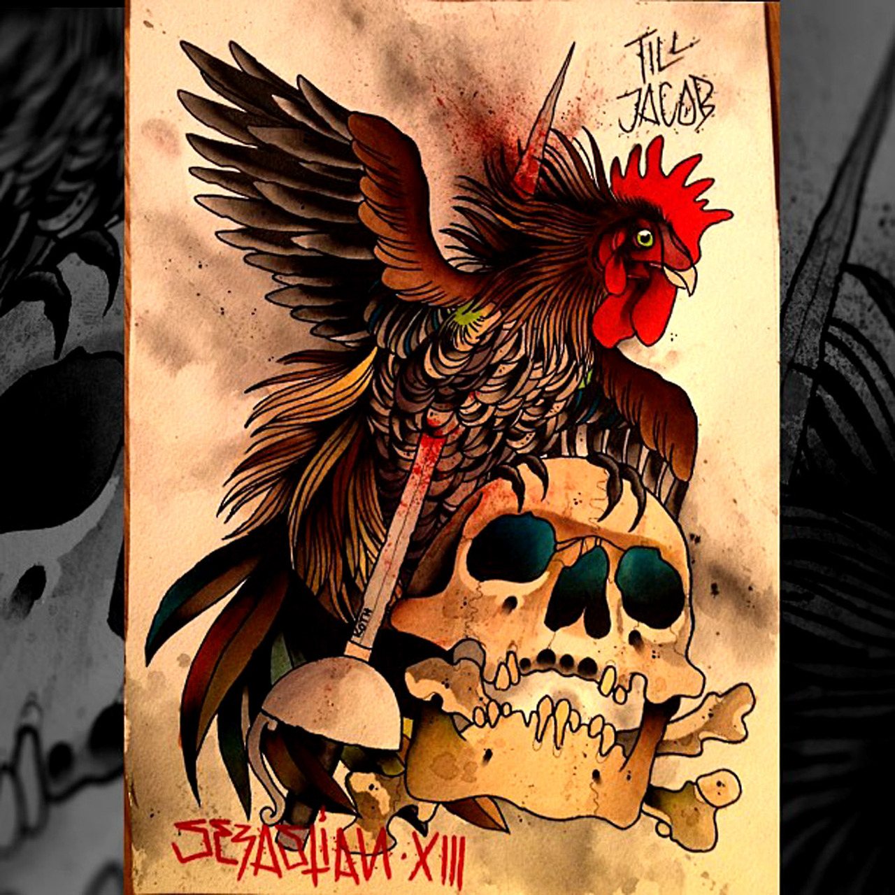 Skull and rooster tattoo design