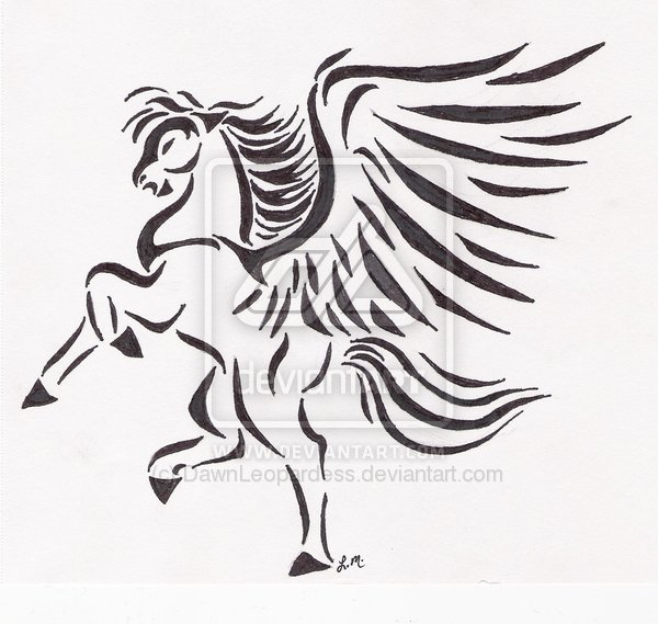 tribal pegasus tattoo the image kid has it. Black Bedroom Furniture Sets. Home Design Ideas