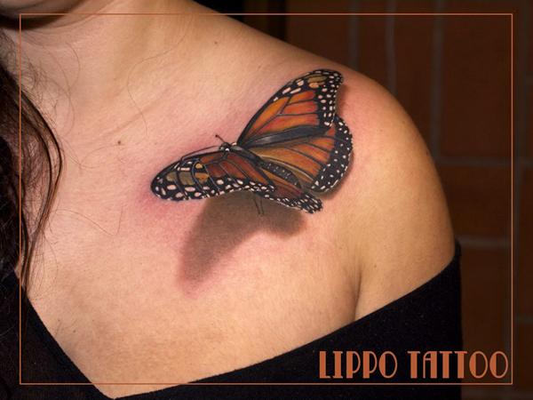 3d Butterfly Tattoo On Girl Upperback