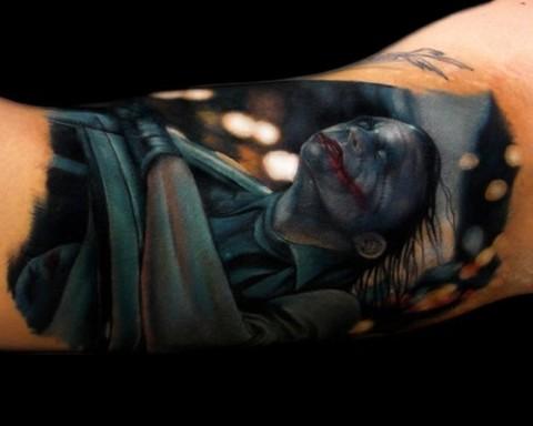 3d Color Joker Tattoo On Sleeve
