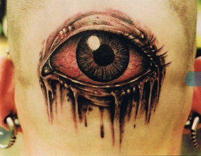 Attractive Color Ink 3D Eye Tattoo On Back Head