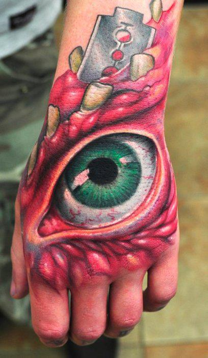 Color ink 3d eye tattoo on left back hand for 3d hand tattoo