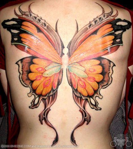 7b00d555f Orange Ink Butterfly Wings 3D Tattoo On Back