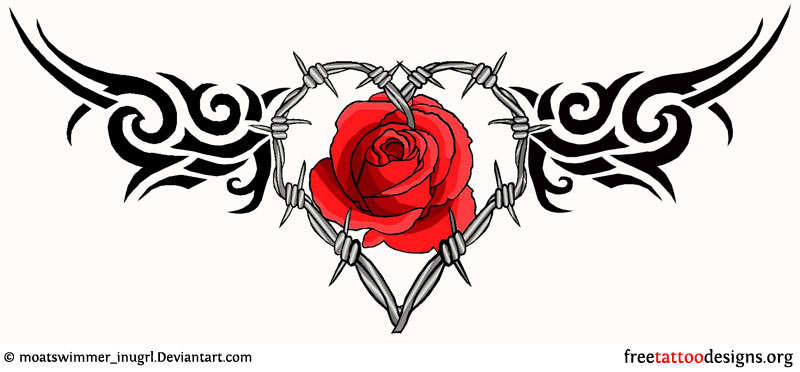 Black Tribal and Red Rose Barbed Wire Tattoo Design
