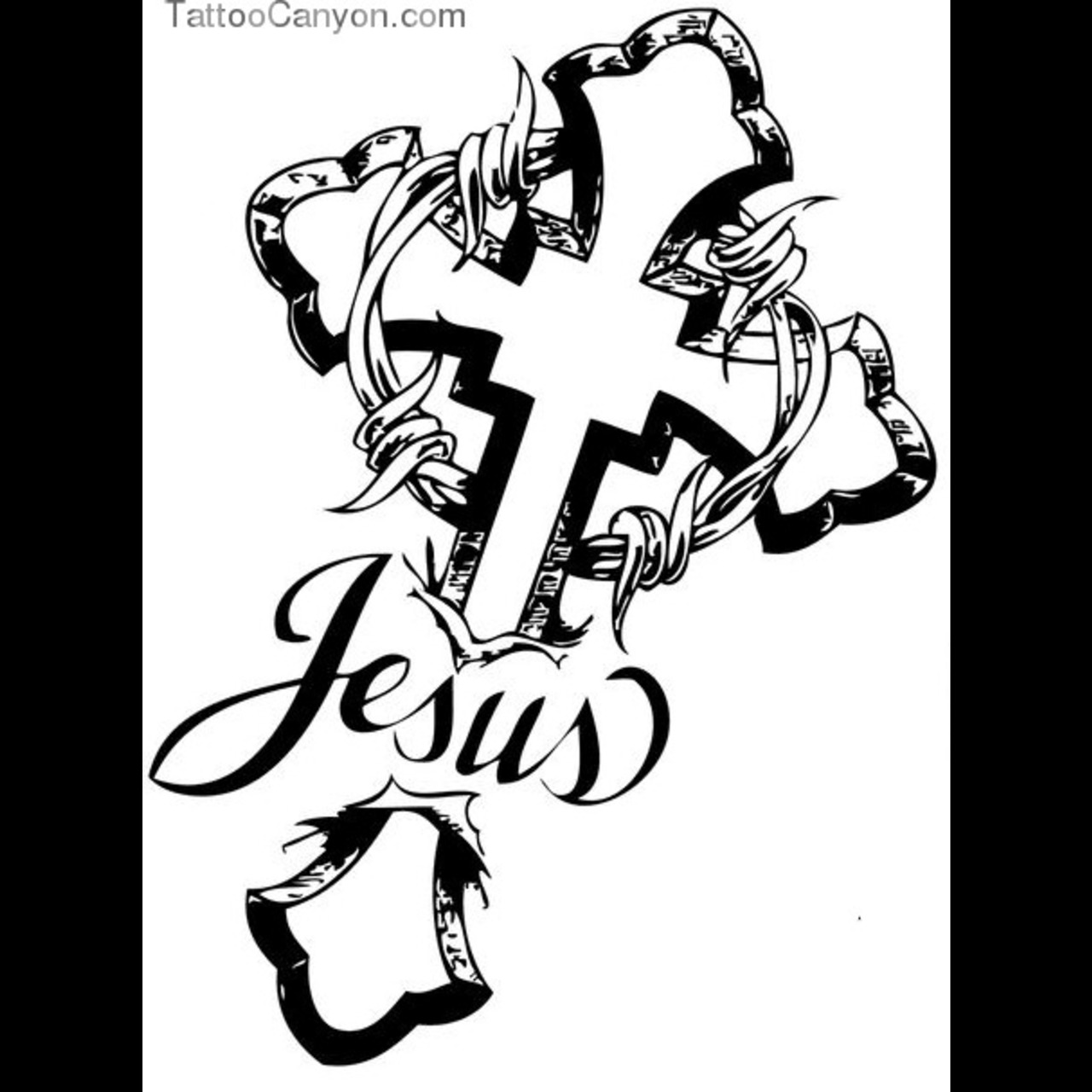 Jesus Cross And Barbed Wire Tattoo Design