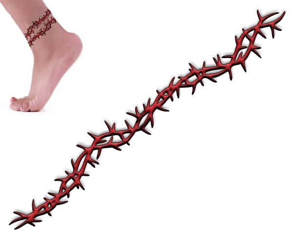 Red Thorns Barbed Wire Tattoo Design