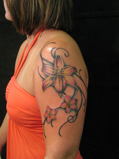 Shaded Flower Tattoo On Shoulder