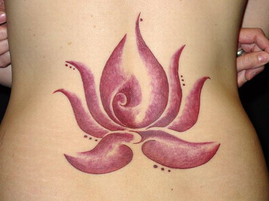Very Nice Flower Lower Back Tattoo