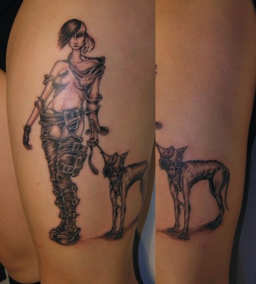 Grey Ink Pinup Girl And Dog Tattoo On Sleeve