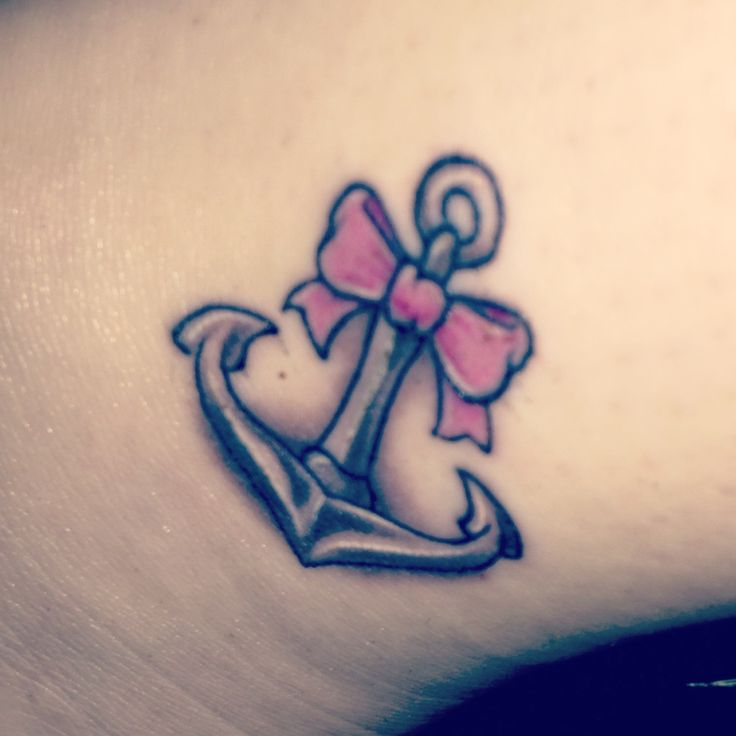 Grey Anchor With Pink Bow Tattoo Design Idea