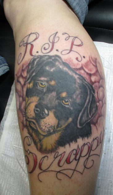 RIP Scrappy Dog Tattoo On Leg