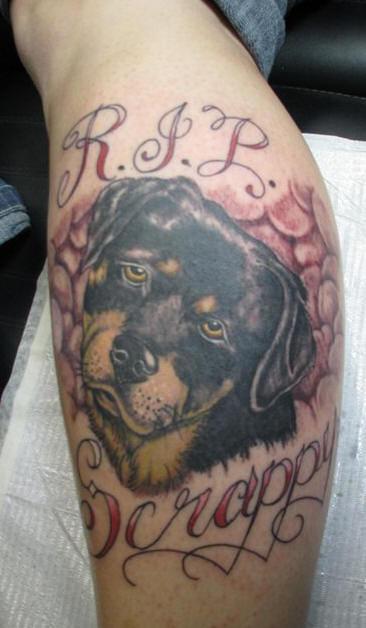 RIP Scrappy Dog Tattoo On Leg