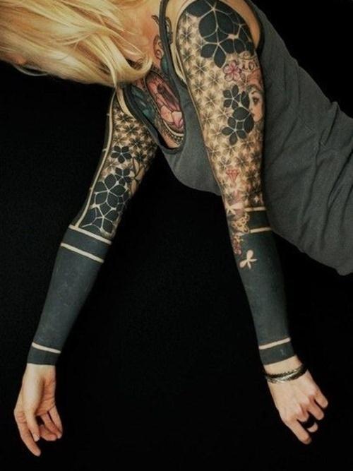 2433c2deb9a7 Black Ink Dotwork Tattoo On Full Sleeve