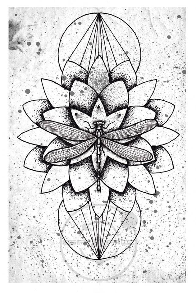 crazy dotwork flower tattoo design. Black Bedroom Furniture Sets. Home Design Ideas