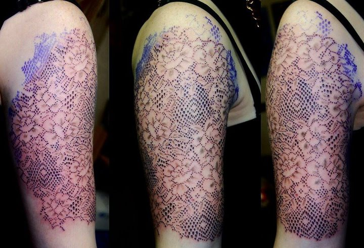 Dot work lace tattoo on half sleeve