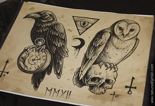 hurt tribal tattoos Crow Owl Tattoos Dotwork Design and