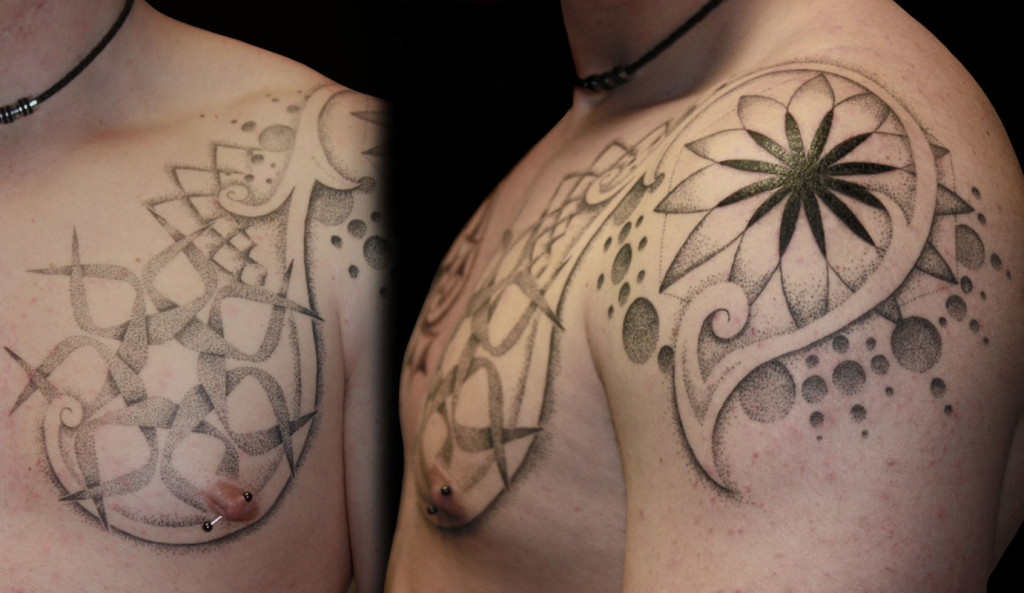 Dotwork tattoo images designs for Shoulder and chest tattoos