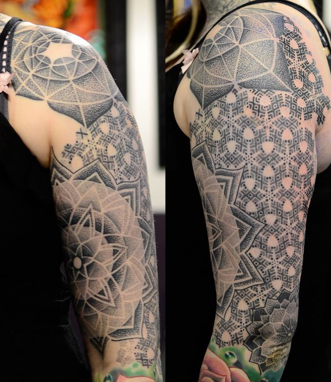 Geometric Flower Tattoo Sleeve: Dotwork Tattoo Images & Designs