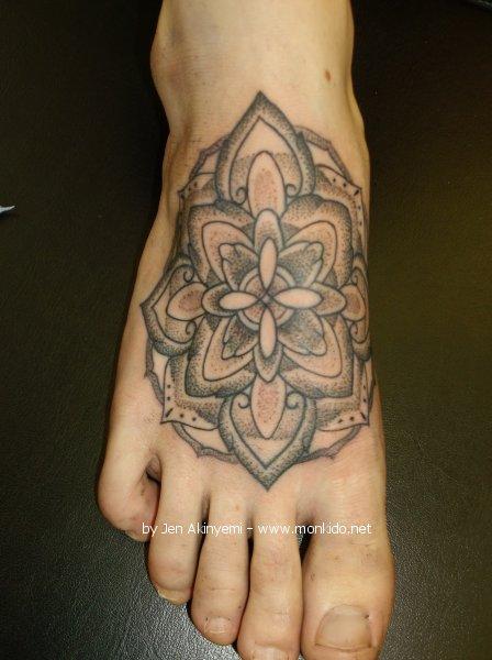 grey ink mandala flowers dotwork tattoos design. Black Bedroom Furniture Sets. Home Design Ideas
