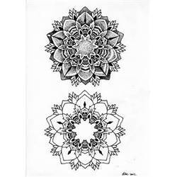 Grey Ink Mandala Flowers Dotwork Tattoos Design