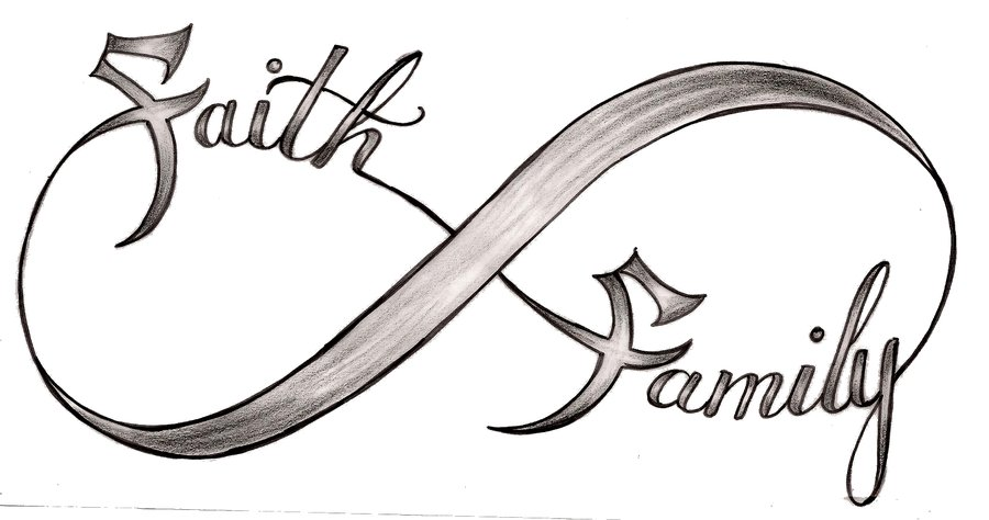 Awesome Faith Family Infinity Tattoo Design