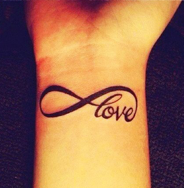 Beautiful Love Infinity Tattoo On Right Wrist