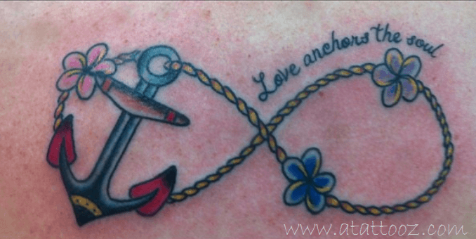 Color Anchor And Infinity Tattoo