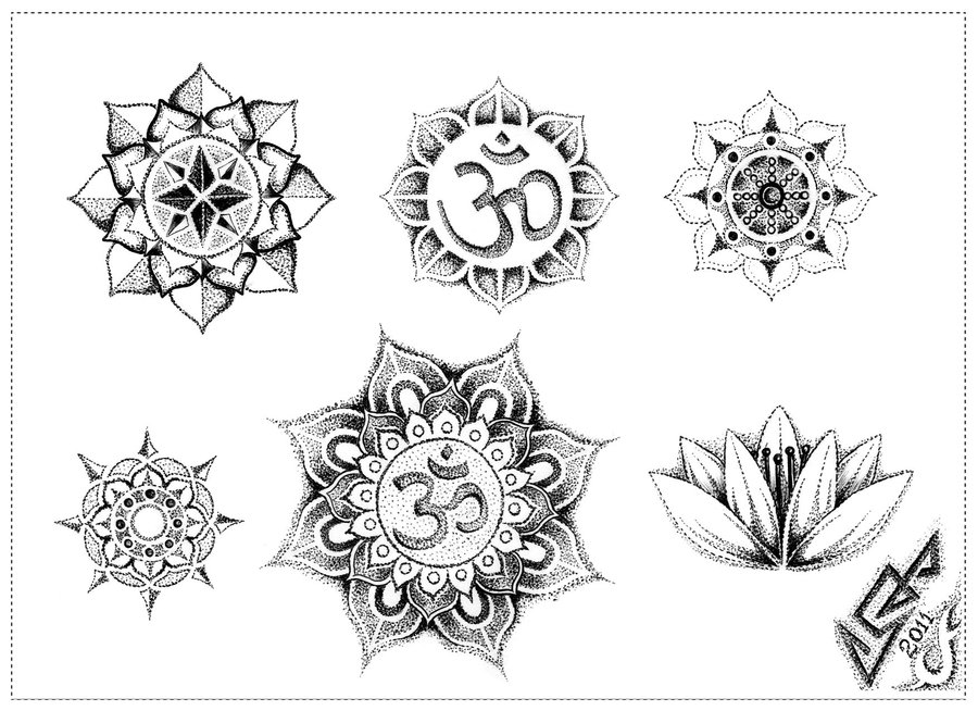 Dotwork Mandala Flowers Tattoos Designs