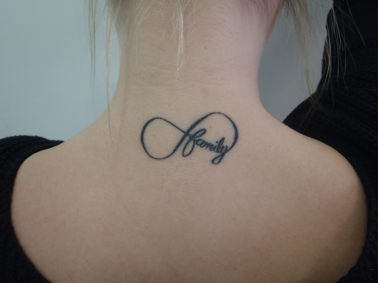 Grey Ink Family Infinity Tattoo