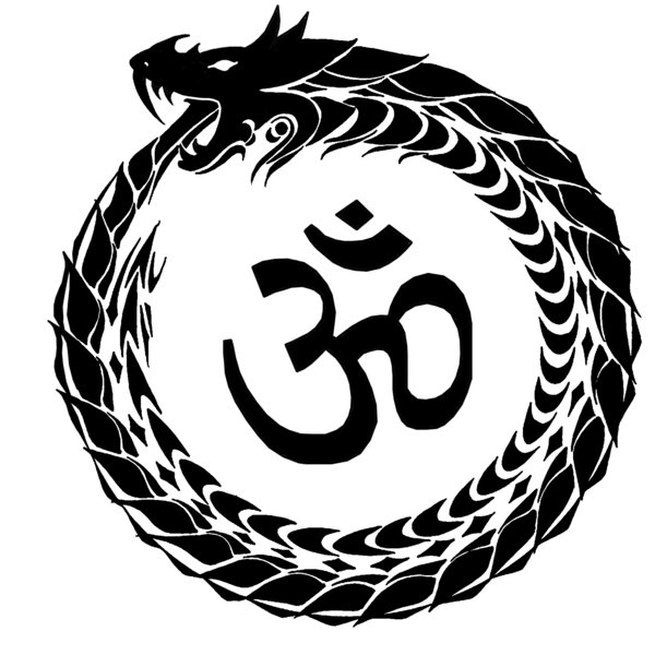 Om Religious Symbol And Ouroboros Tattoo Design