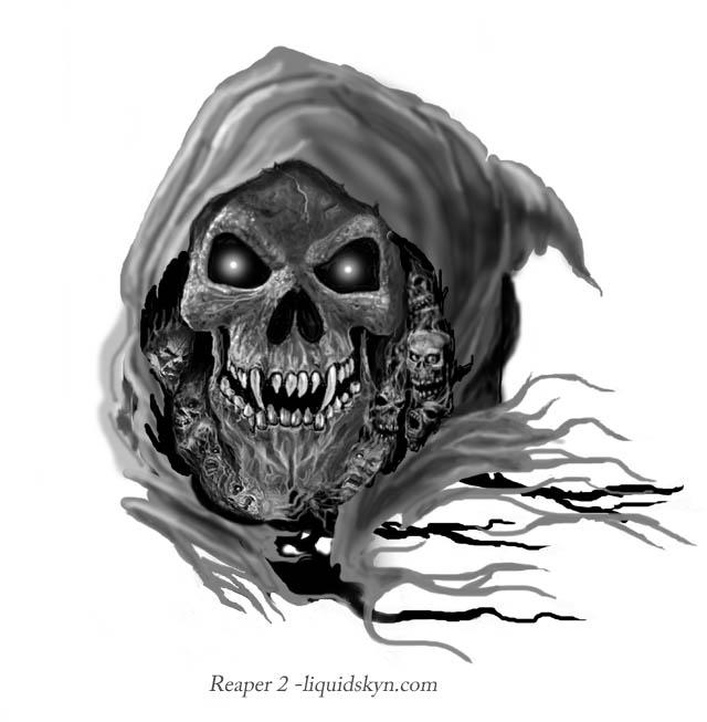 423e0cfe2 Awful Grey Ink Grim Reaper Goblin Tattoo Design