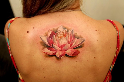 Best Lotus Flower Tattoo On Girl Back