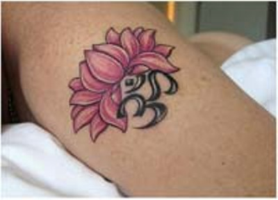 Black om symbol and lotus flower tattoo mightylinksfo