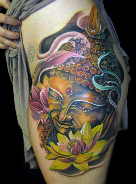 Color buddha and lotus flower tattoo on side mightylinksfo
