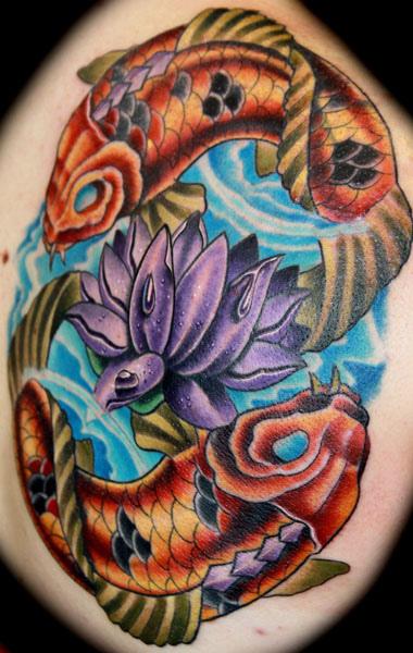 Color Koi Fish And Purple Lotus Tattoo Design