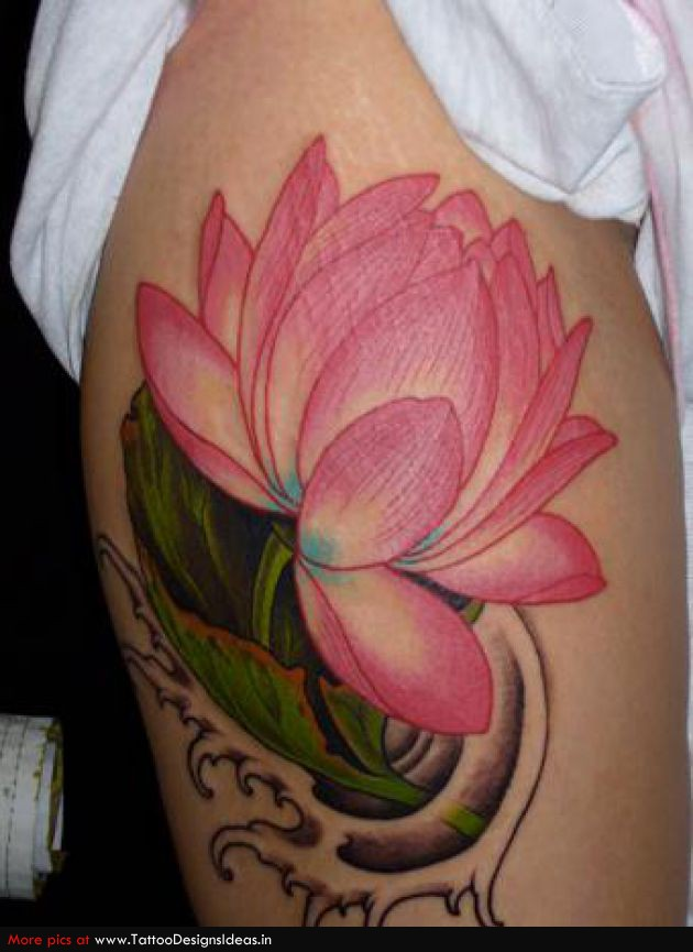 Color Lotus Flower Tattoo