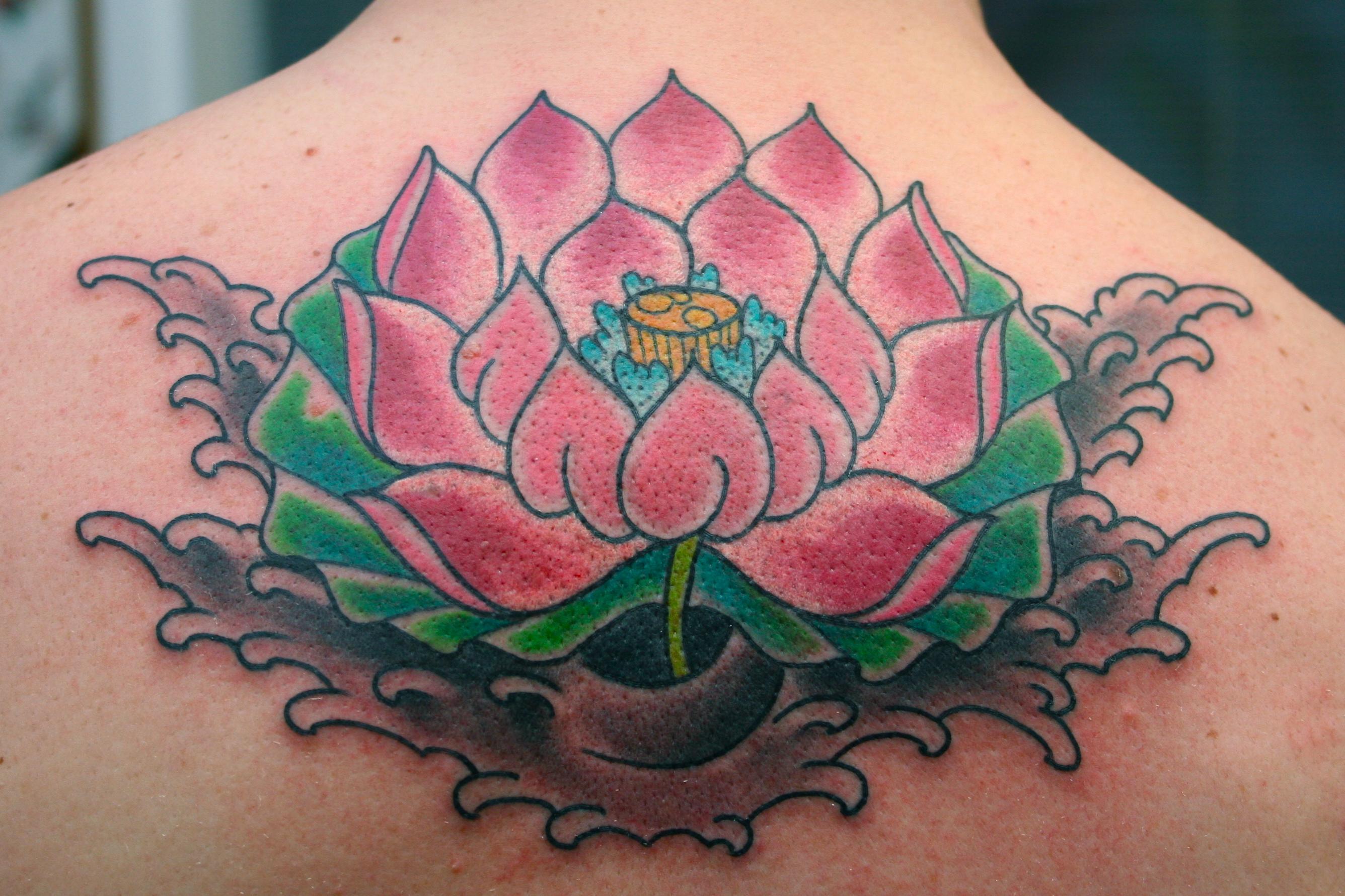 Color Lotus Tattoo On Upperback