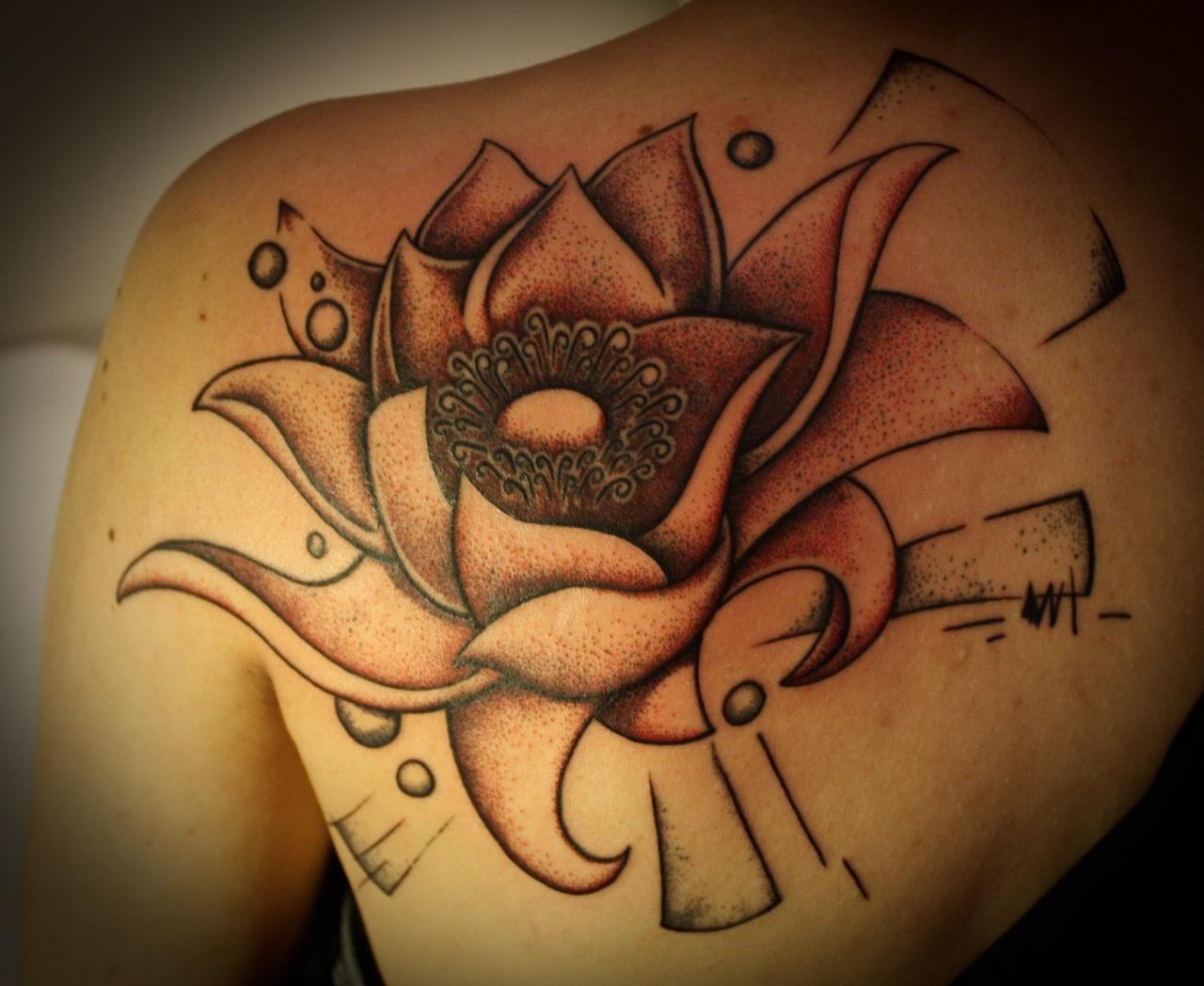 Grey Ink Lotus Tattoo On Left Back Shoulder