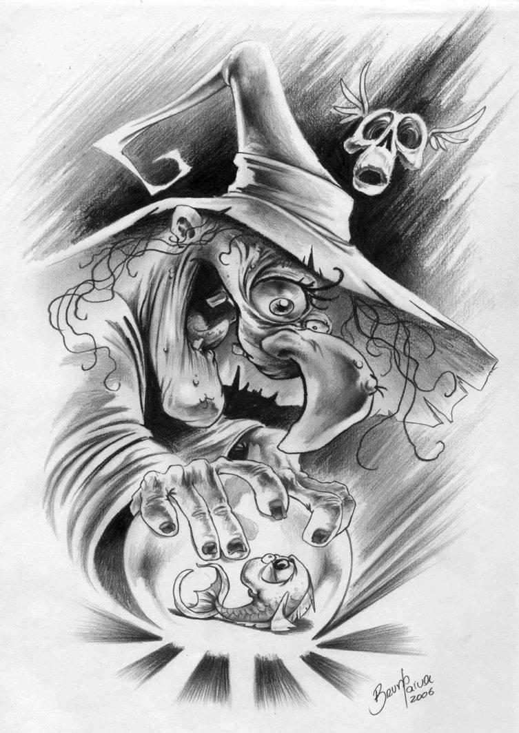 grey ink witch goblin tattoos design