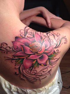 Lotus Flower Tattoo On Right Back Shoulder