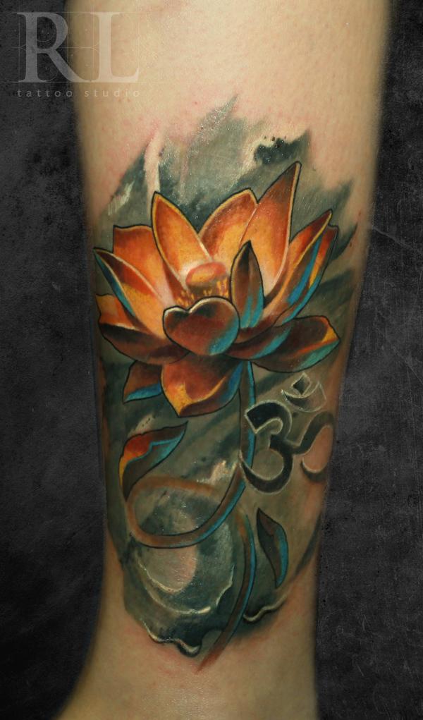 Om symbol and lotus tattoo on leg sleeve mightylinksfo
