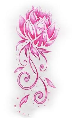 Tribal and pink lotus tattoo design pink tribal lotus flower tattoo design mightylinksfo