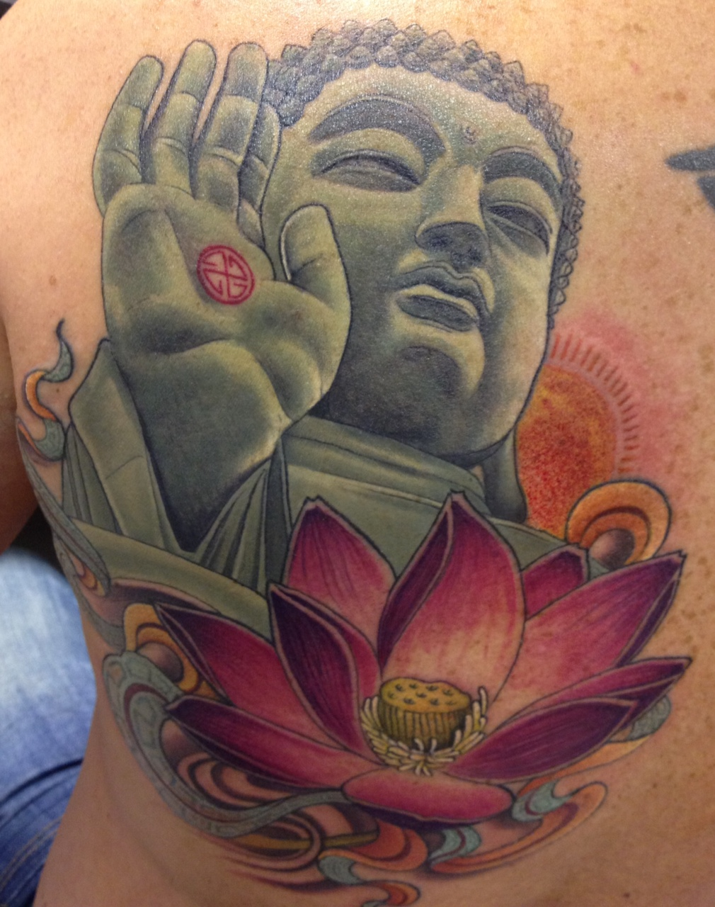 Religious Buddha And Lotus Tattoo