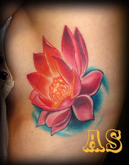 Rib Side Lotus Tattoo