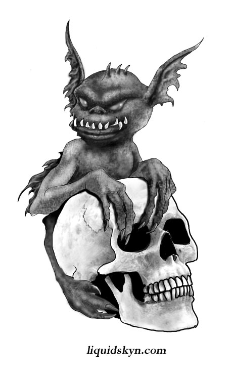 Skull And Dark Ink Goblin Tattoo Design