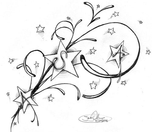 swirly star tattoos design. Black Bedroom Furniture Sets. Home Design Ideas